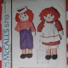 Vintage 1977 McCalls Pattern 5713 Raggedy Ann & Andy Dolls & Clothes, Uncut