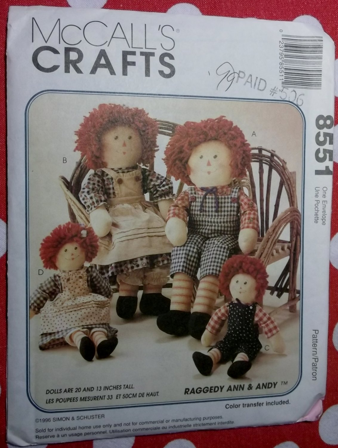 OOP McCalls 8551 Raggedy Ann & Andy Doll & Clothes 13 or 20 inch Pattern, Uncut