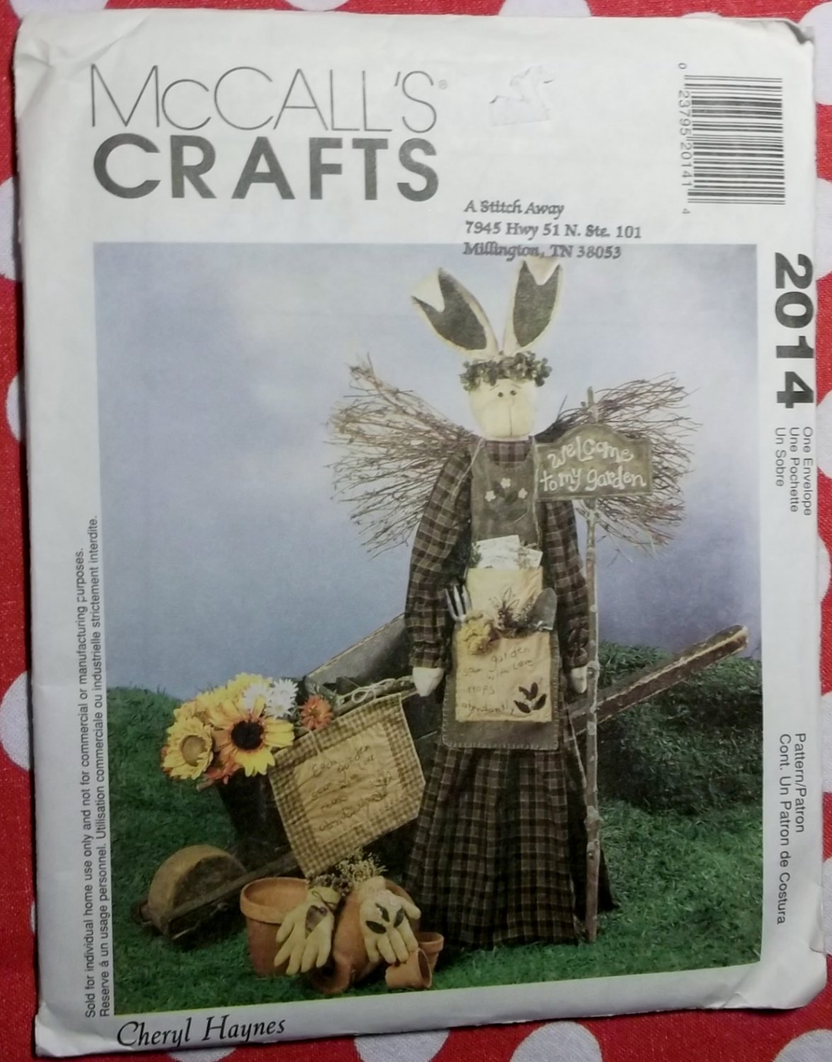 OOP McCalls 2014, Garden Angel Bunny With Wall Hanging & Decorative Garden Gloves Pattern, Uncut