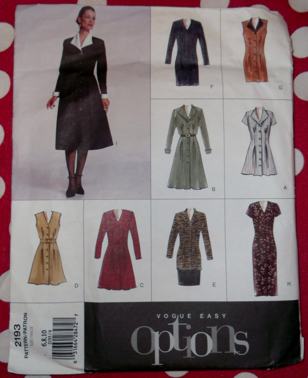 OOP Easy  Options Vogue 2193 Dress, Tunic, & Skirt Pattern, Size 6 8 10, Uncut