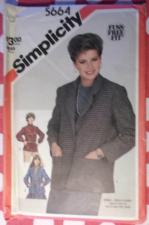 Vintage 80s Simplicity 5664  Fuss Free Fit  Misses Unlined Jackets Sewing Pattern, Sz 10, Uncut