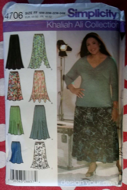 Simplicity 4706  Skirt Pattern,  Khaliah Ali Collection Design Your Own,  Sz 18W to 24W, Uncut