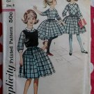 Vintage Simplicity 4082 Girls Dress Detachable Collar & Cuffs Pattern, Size 8, Uncut