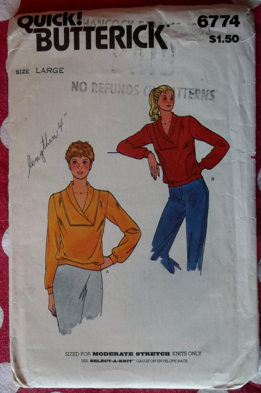 Vintage Butterick Pattern 6774 Misses Top Size Large 16 18, Uncut
