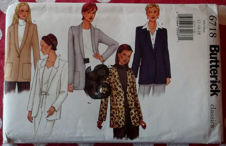 Butterick Pattern 6718 Misses or Petite Jacket Pattern, Sz 12 14 16, Uncut