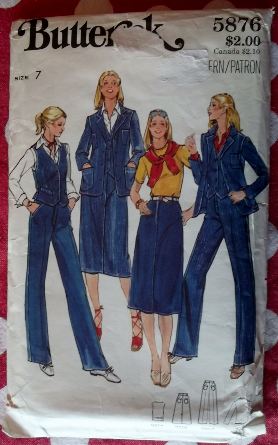 Vintage Butterick 5876 Junior Vest, Jacket, Skirt & Pants Pattern, Size 7, Uncut