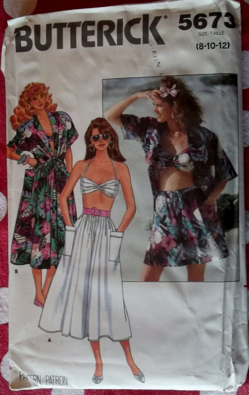 OOP Butterick 5673 Misses Summer Shirt, Skirt, Shorts and Bra Pattern, Sz 8 to 12, Uncut