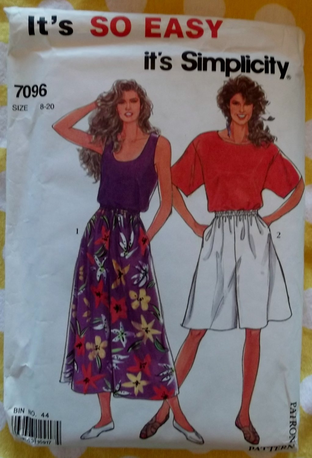 OOP So Easy Simplicity 7096 Pattern,  Misses' Tops & Culottes Size 8-20, Uncut