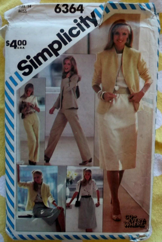 Vintage 80's Simplicity 6364 Misses Skirt, Pants, Blouse & Lined Jacket Sewing Pattern, Sz 14, Uncut