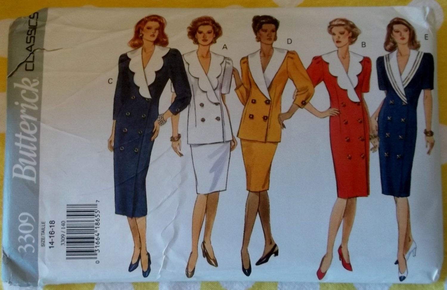 Easy Butterick 3309  Misses Classic Dress Top Skirt Pattern, Size 14 16 18, Uncut