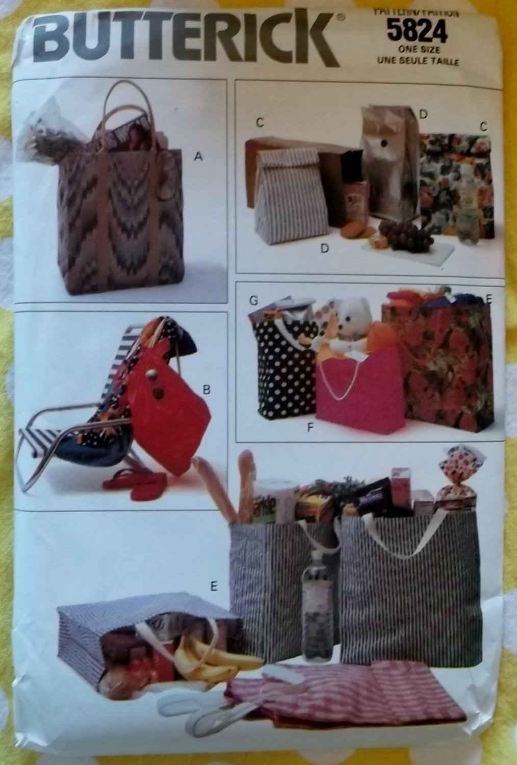 Butterick 5824 Re-usable Tote Bags, Draw string, Lunch, Sewing Pattern, Uncut
