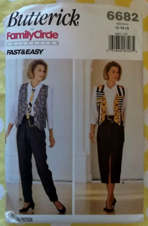 Easy Butterick 6682 Misses Wardrobe Vest Tie Shirt Skirt & Pants Pattern, Sz 12 14 16, UNCUT