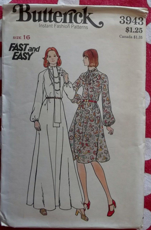 Vtg 70s Butterick 3943 Misses  Flared Long or Short Dress Pattern Sz 16, B 38, Uncut