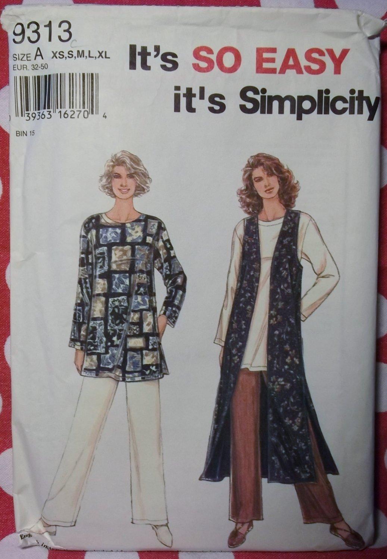 Misses' Lined Vest, Top & Pants Pattern, Sz 6 to 24, Simplicity 9313, Uncut