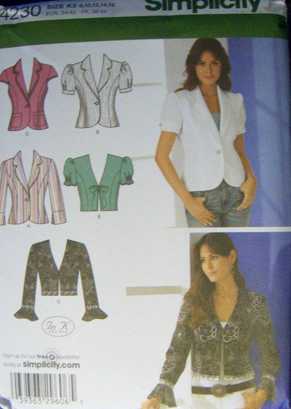 Simplicity 4230 Misses & Petite Jackets, Size 8 10 12 14 16, Uncut