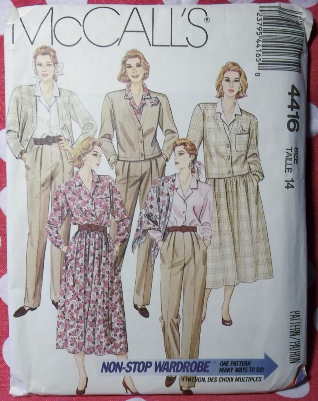 Jacket Skirt Blouse Pants & Scarf McCalls 4416 Pattern, Size 14 Uncut