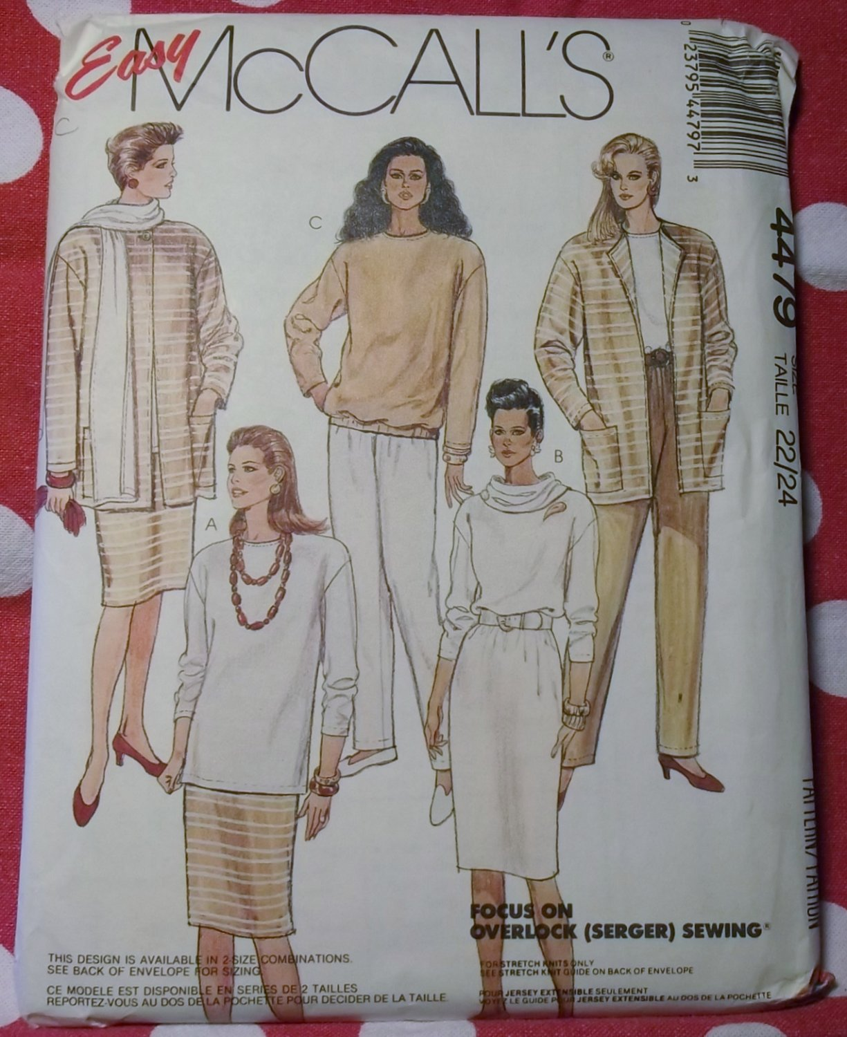 Easy Misses Jacket Tunic Top Skirt Pants & Scarf McCalls 4479 Pattern, Plus Size 22 24, Uncut