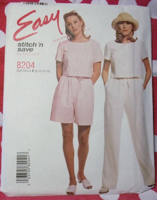 Misses Easy Top, Pants, Shorts McCalls 8204 Pattern, Size 8 10 12 14, UNCUT