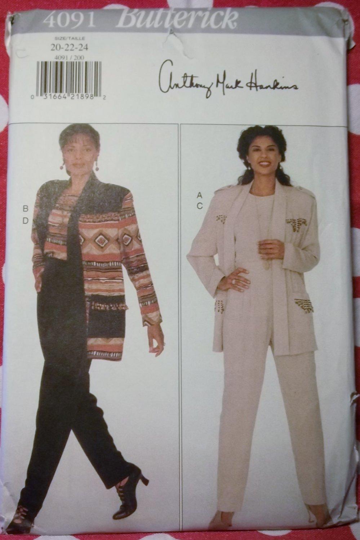 Easy Misses or Petite Jacket, Top, Pants Butterick 4091 Pattern, Plus Size 20 22 24, Uncut