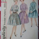 1960s Misses Button front Full Skirt Dress Simplicity 4519 Pattern Size 16 Bust 36, Uncut