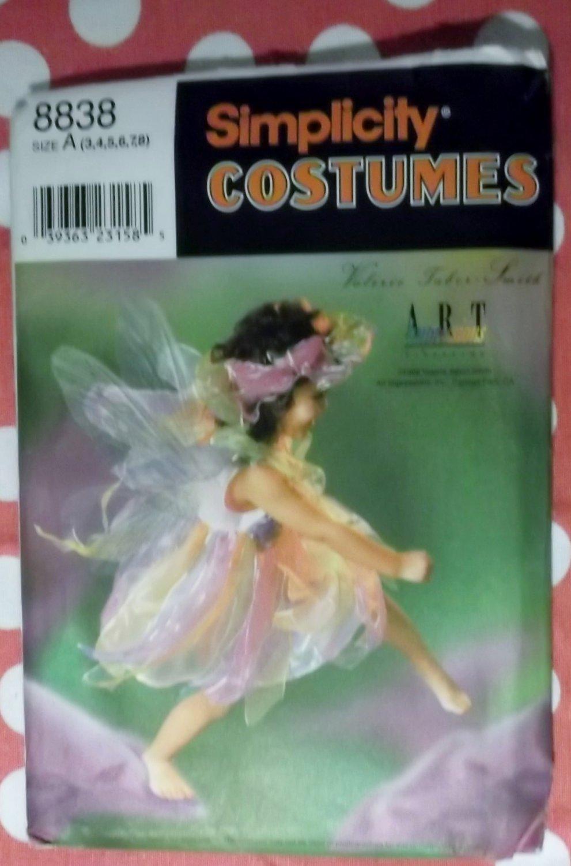 Costume Girls Fairy Dress Slip Panties Wings & Headpiece Simplicity 8838 Pattern, Sz 3 to 8, Uncut