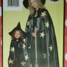 Girls No-Sew Costume Witch Cape and Hat Butterick 5104 Pattern, Size XS 4 to L 14, Uncut