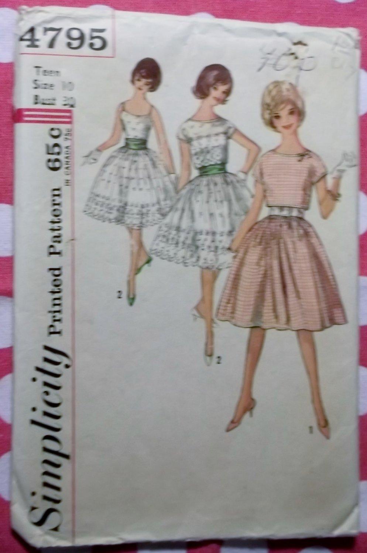 60s Rockabilly Dress, Cummerbund, Jacket Simplicity 4795 Sewing Pattern, Teen 10, Bust 30, Uncut