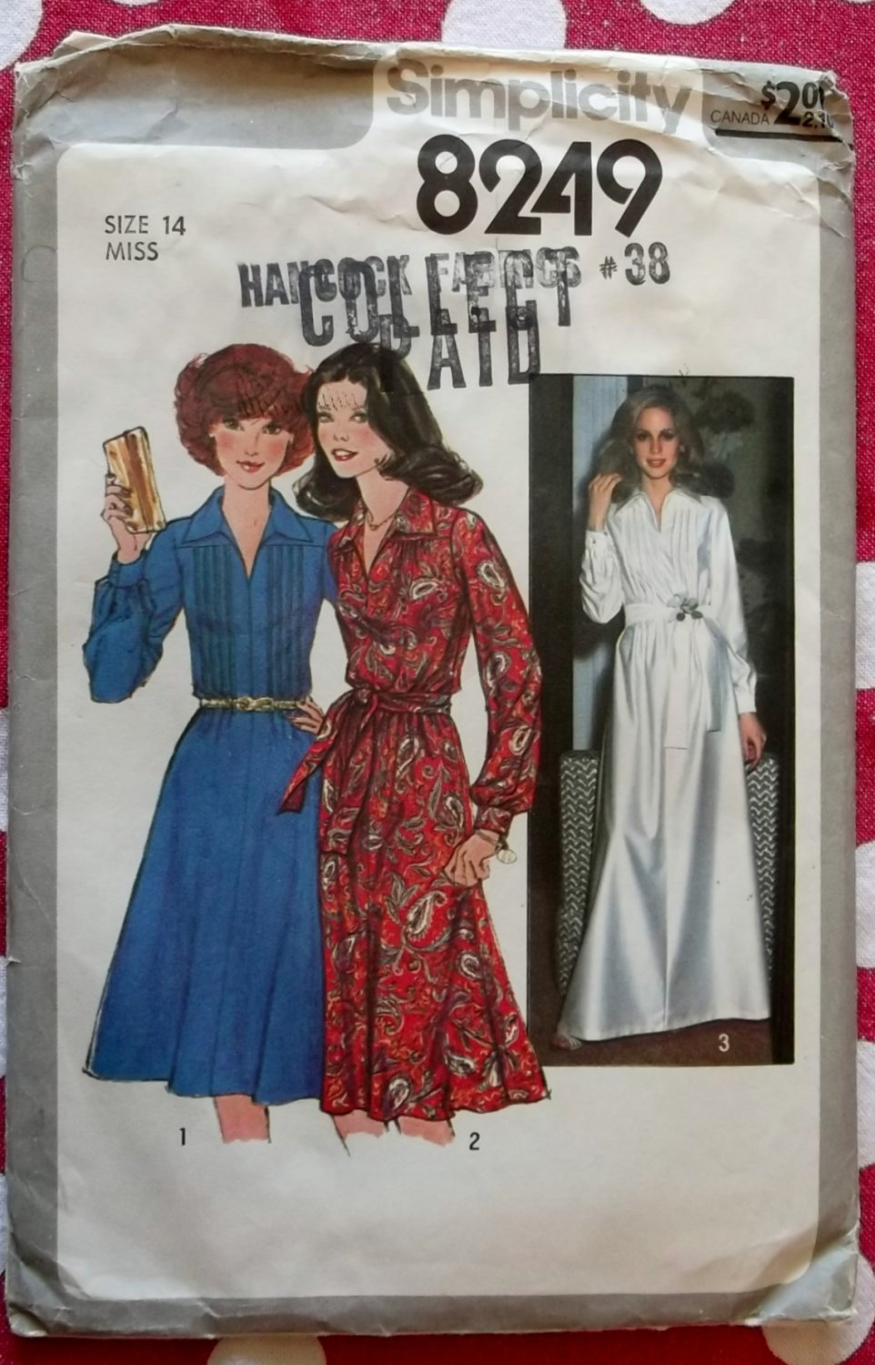 Vintage 1977 Simplicity 8249 Sewing Pattern, Maxi or Knee Length Dress, Sz 14, Uncut