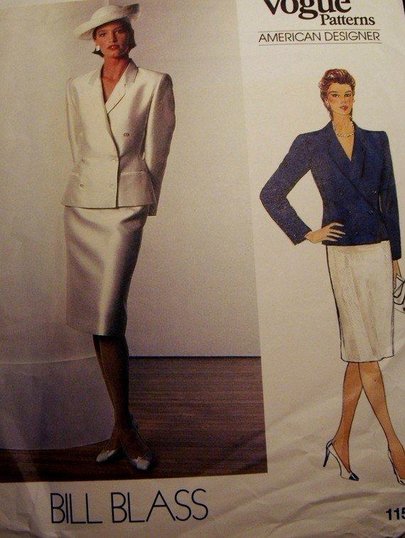 Vintage Vogue 1158 Pattern Designer Bill Blass, Jacket, Skirt, Suit, Size 12, Bust 34, UNCUT