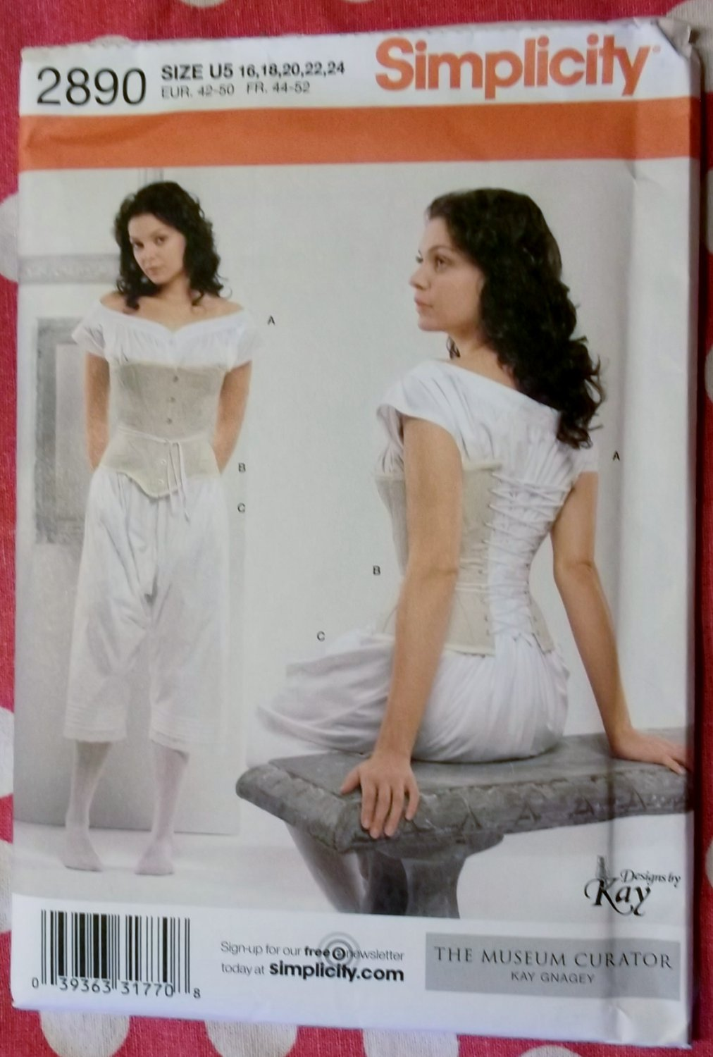 Misses Victorian Drawers, Chemise & Corset Simplicity 2890 Pattern, Sz 16 to 24, Uncut
