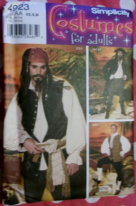Men's Pirate Costume Coat Vests Shirt Cravat Pants Simplicity 4923 Sewing Pattern Sz. XS - MD, Uncut