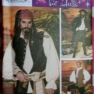Men's Pirate Costume Coat Vests Shirt Cravat Pants Simplicity 4923 Sewing Pattern Sz. XS - MD, Uncut