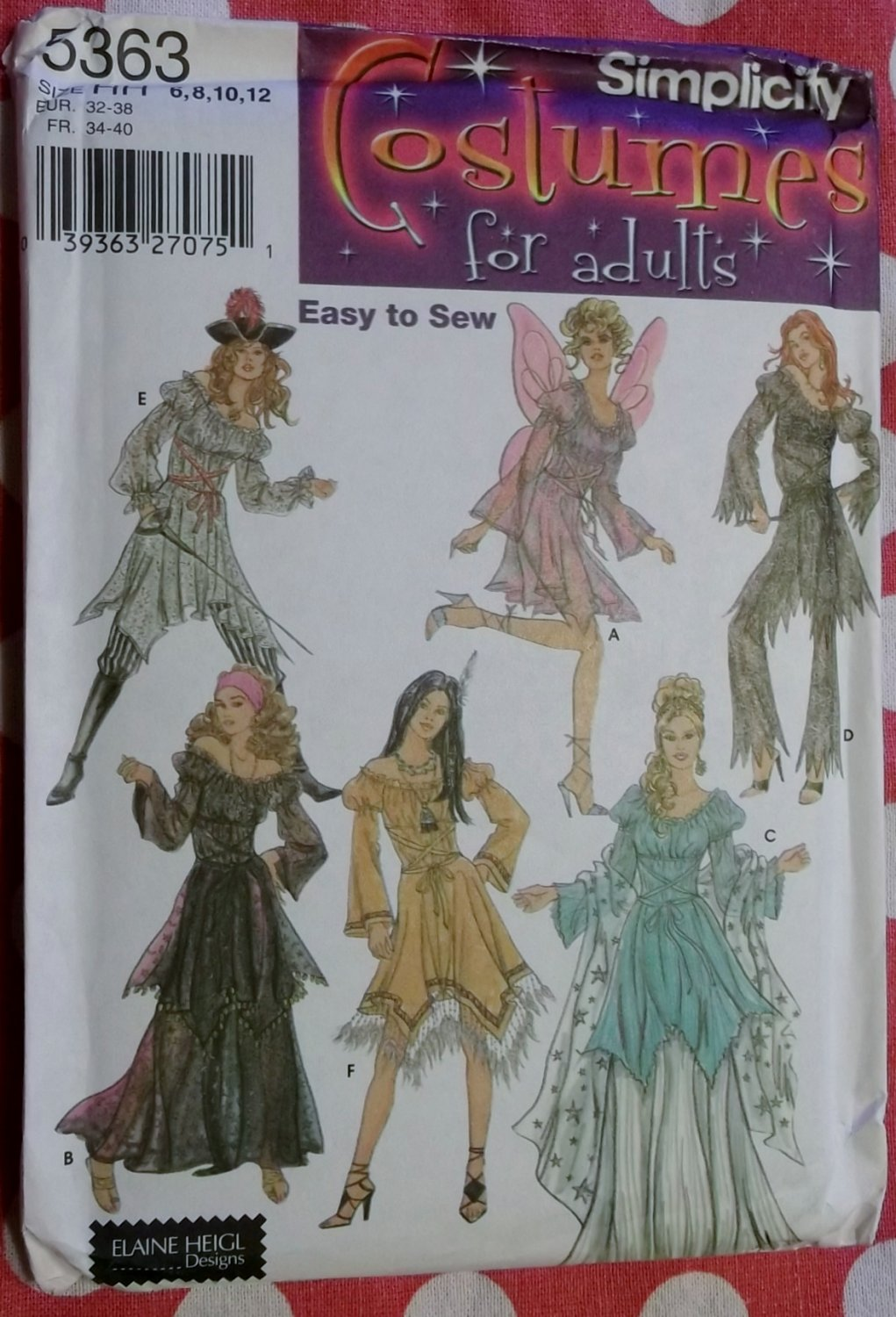 Costumes Fairy Indian Princess Pirate Lady Gypsy Simplicity 5363 Pattern, Sz 8 To 12, Uncut