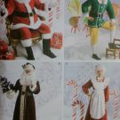 Adult Santa, Mrs. Santa, Elf Costumes Simplicity 2542 Pattern, Sz XS To M, Uncut