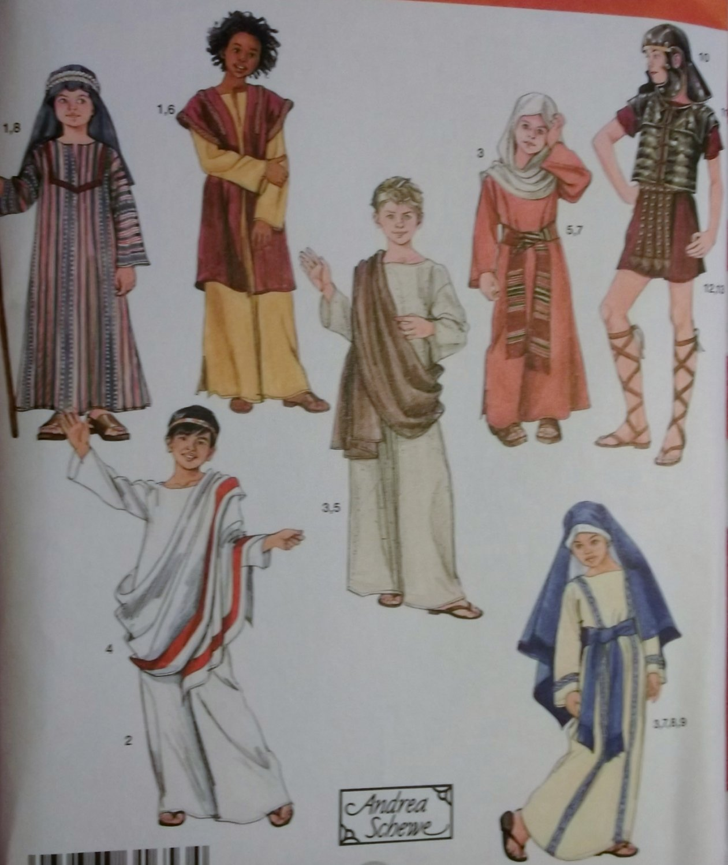Childs Biblical Passion Play Costumes & Helmet Nativity Simplicity 2976 Pattern, Sz XS To L, Uncut