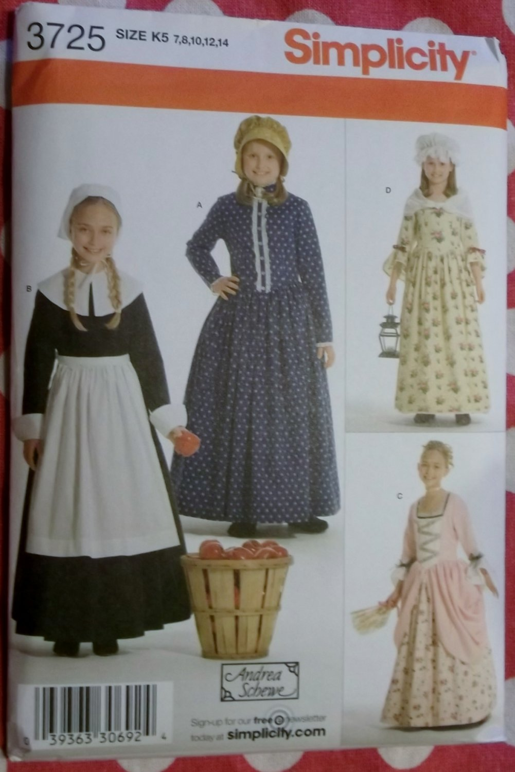 Childs Costume Pilgrim Colonial Frontier Pioneer Gowns Simplicity 3725 Pattern, Sz 7 To 14, Uncut