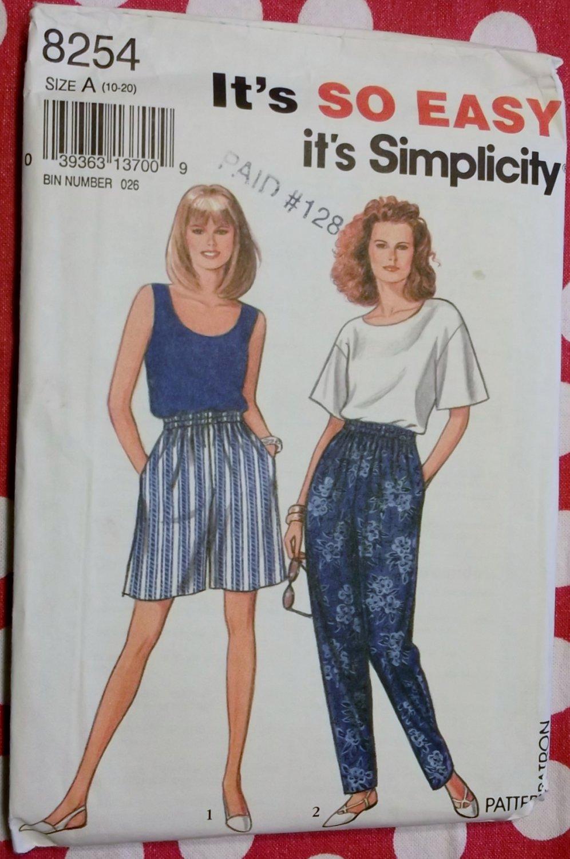 OOP Easy Misses Top, Tank Top & Pants or Shorts Simplicity 8254 Pattern, Sz 10 to 20,