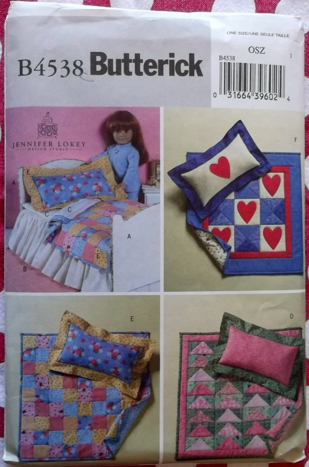"18"" Doll Bed & Quilts Butterick B4538 Pattern, UNCUT"