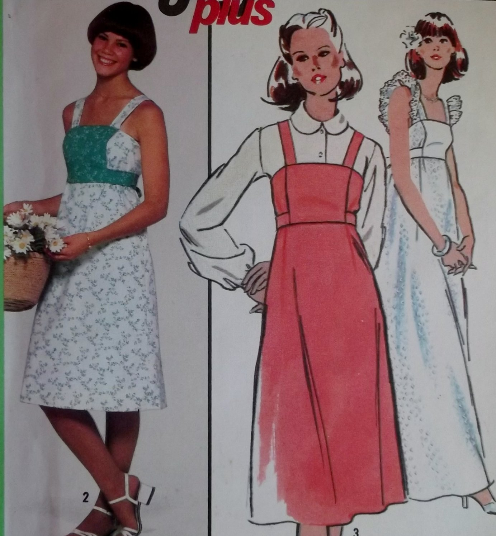 Easy Vintage 1970s Dress or Jumper Simplicity 8346 Pattern, Size 14 Uncut