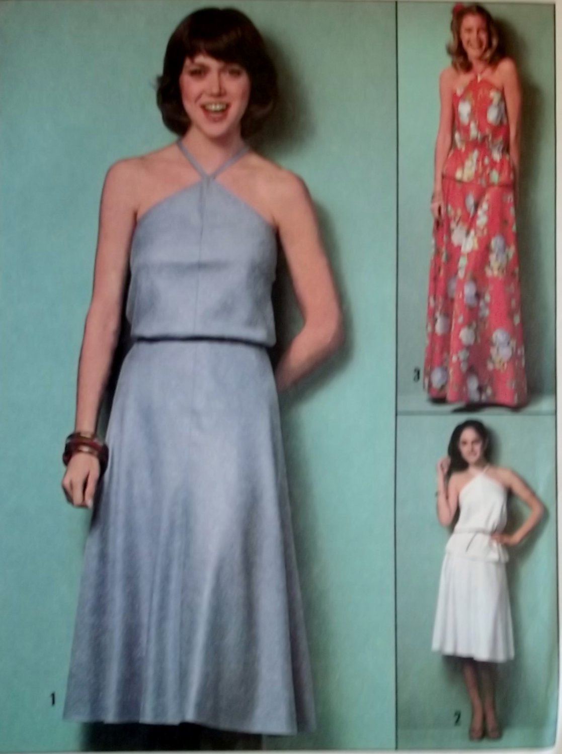 Easy 1970's Halter Top & Skirt in 2 Lengths Simplicity 8531 Pattern, Size 12, Uncut