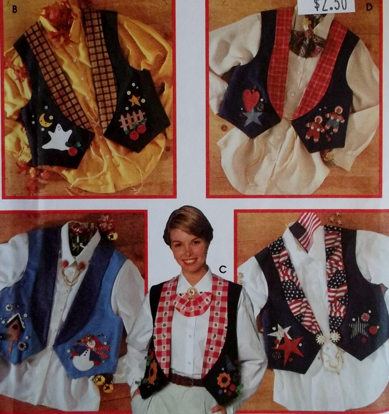 Misses Vest with Jewelry & transfers for Appliques Simplicity 9657 Pattern, Sz 6 8 10, Uncut