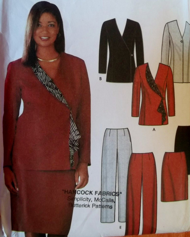 Misses Skirt Slim Pants Lined Jackets Sewing Pattern Simplicity 7100, Plus Size 14 16 18 20, Uncut