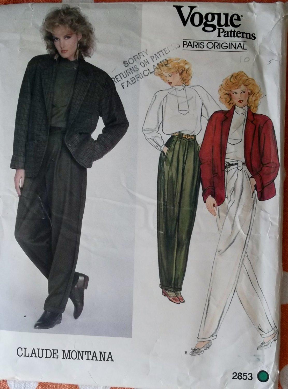 Vintage Paris Original Claude Montana  Jacket, Top & Pants Vogue 2853 Pattern, Size 10 Uncut