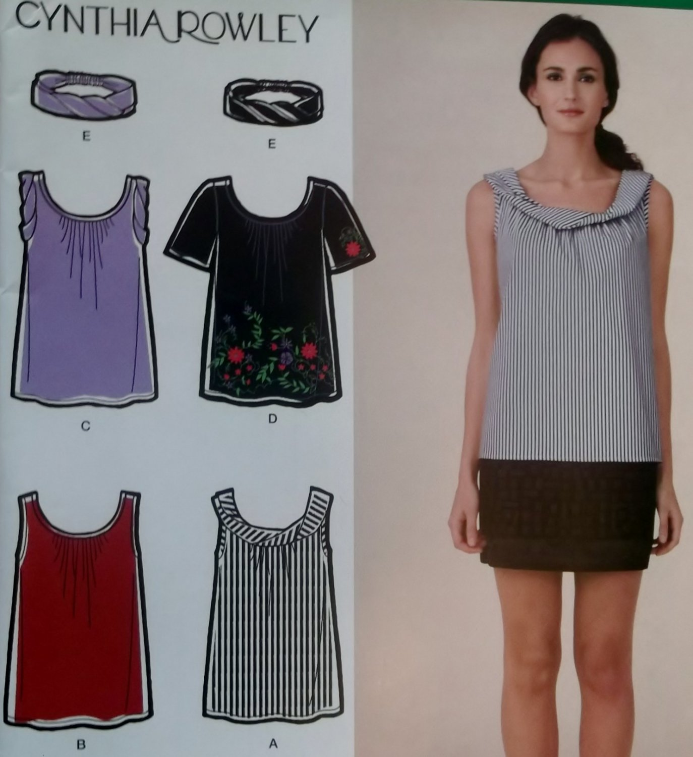 Cynthia Rowley Design Misses' Top Simplicity 2593 Pattern, Sz 6 to 14, UNCUT
