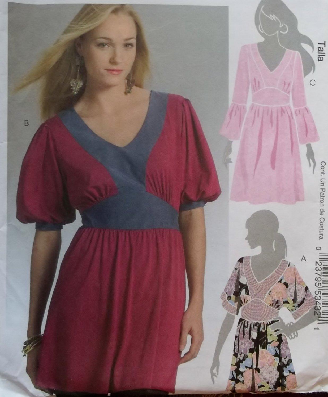 McCalls M5408 Hilary Duff Misses Tops and Tunic Pattern, Sz 14-20 UNCUT