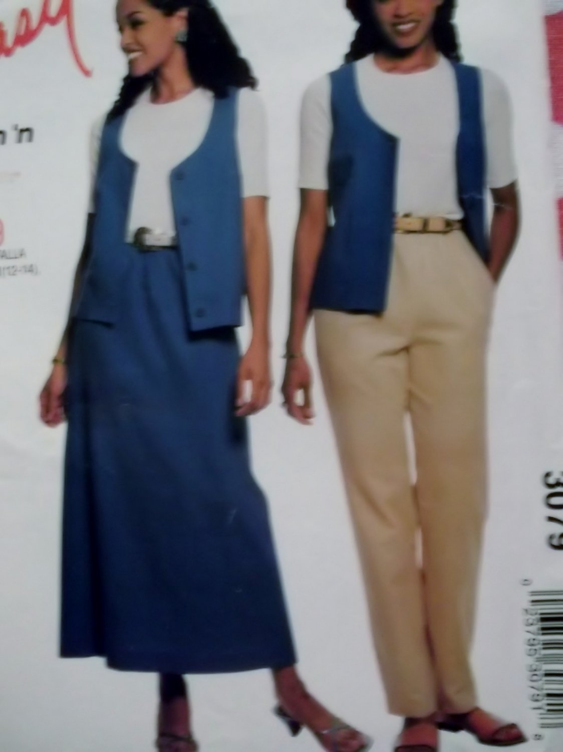 Easy McCall's 3079 Pattern, Misses' Vest Pants Skirt, Size 8 to 18, UNCUT