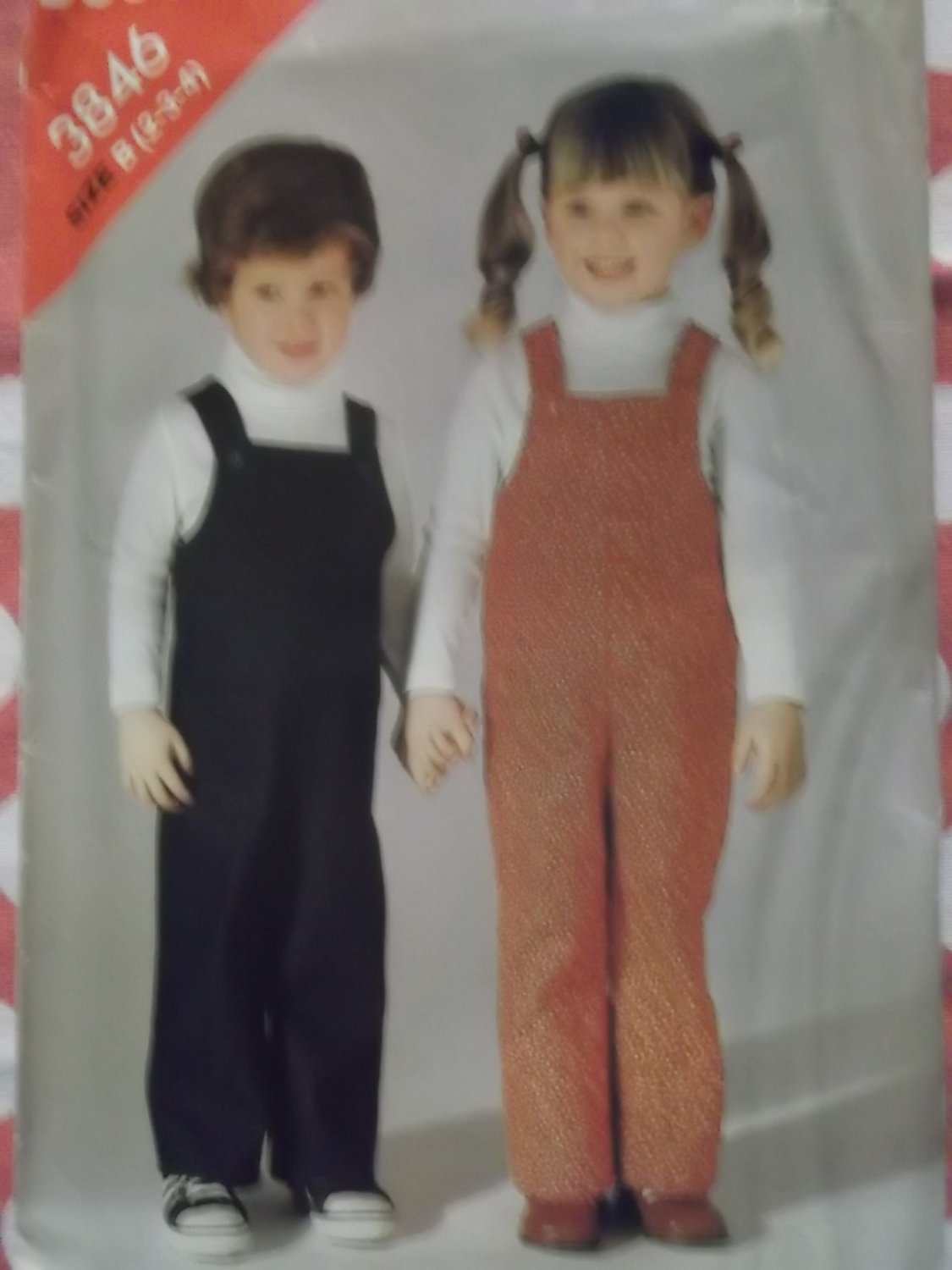 OOP Easy Butterick 3846 Pattern Toddlers Overalls , Size 2, 3, 4, Uncut