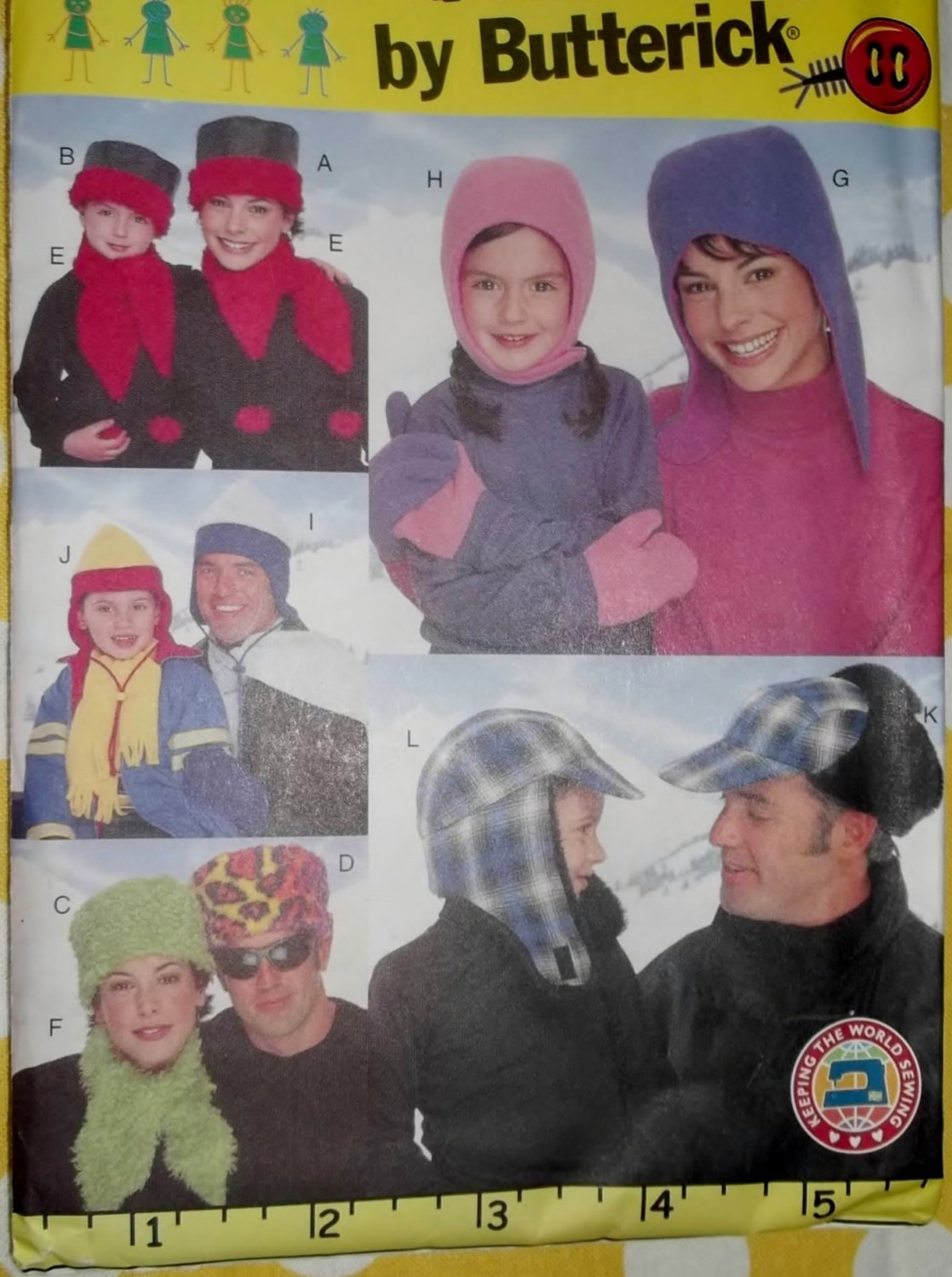 Family Winter Hats Scarves & Mittens Butterick 3067 Patterns, UNCUT