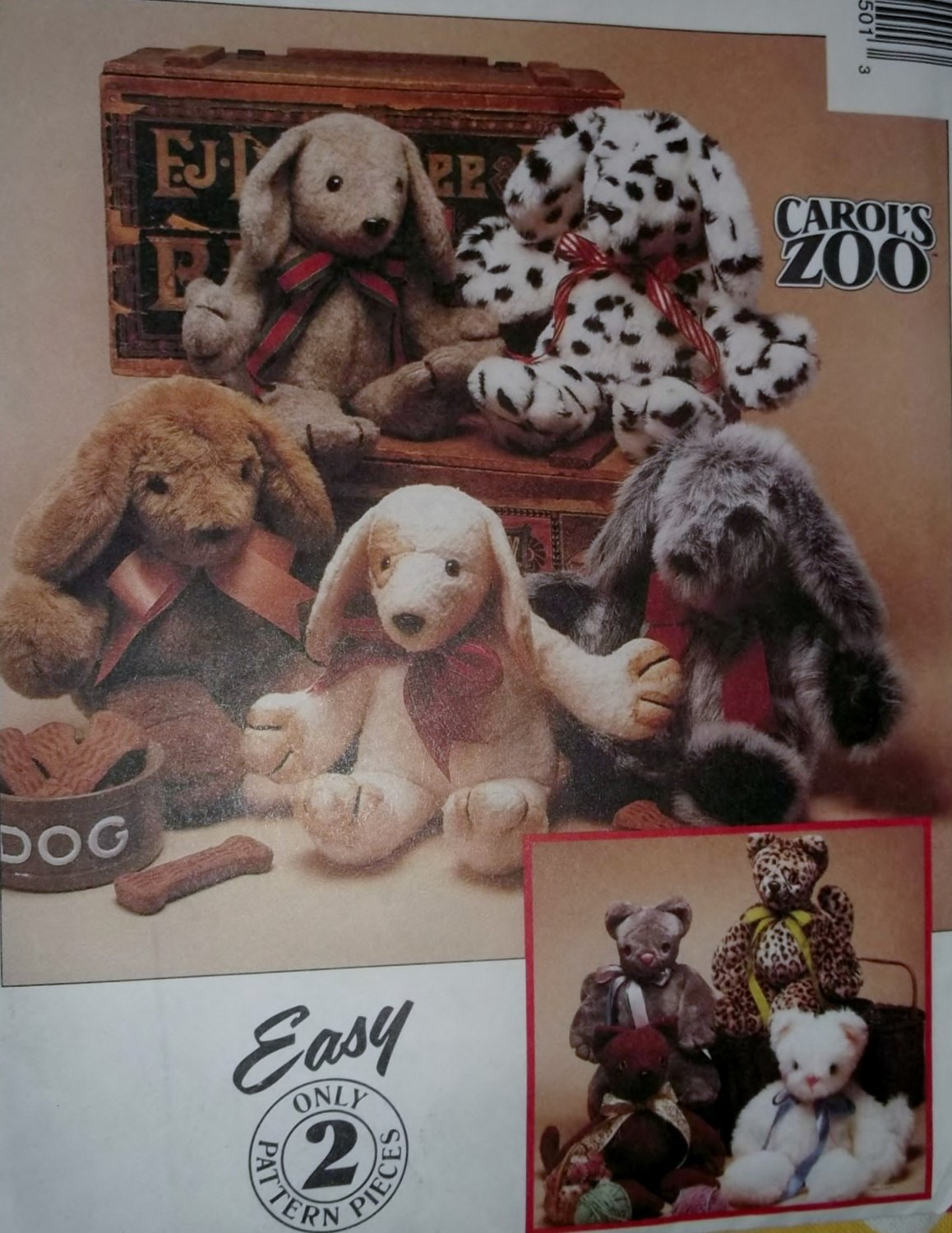 Carol's Zoo Cat and Puppy Simplicity 8550 Home Pattern, UNCUT