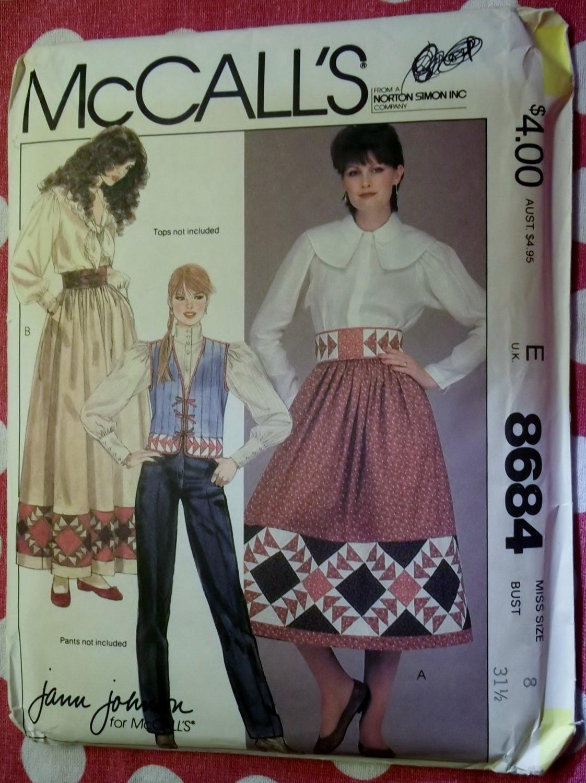McCalls 8684 Pattern, Misses Patchwork Vest Skrt Belt  Size 8, UNCUT